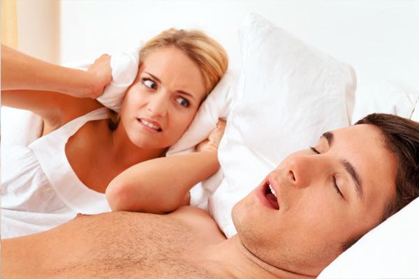 man having snore